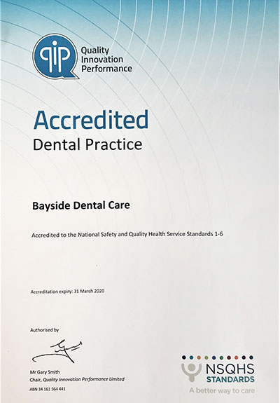 Bayside Dental Accreditation Vertificate